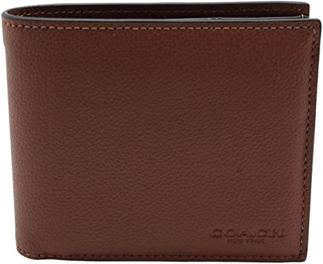 4. Coach Compact ID Wallet in Sport Calf Leather (Dark Saddle) - F74991 CWH