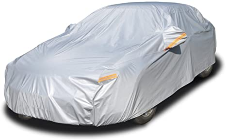 10. Kayme 6 Layers Car Cover Waterproof All Weather for Automobiles, Outdoor Full Cover Rain Sun UV Protection