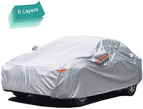 5. GUNHYI Car Cover Waterproof All Weather for Automobiles, 6 Layer Heavy Duty Outdoor Cover, Sun Rain Uv Protection