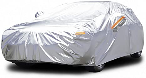 3. Audew 6 Layers Car Cover Waterproof All Weather Breathable UV Protection Snowproof Dustproof Universal Fit Full Car Cover