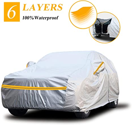 1. Autsop Car Cover Waterproof All Weather, 6 Layers Car Cover for Automobiles Outdoor Full Cover Sun Hail UV Dust Protection