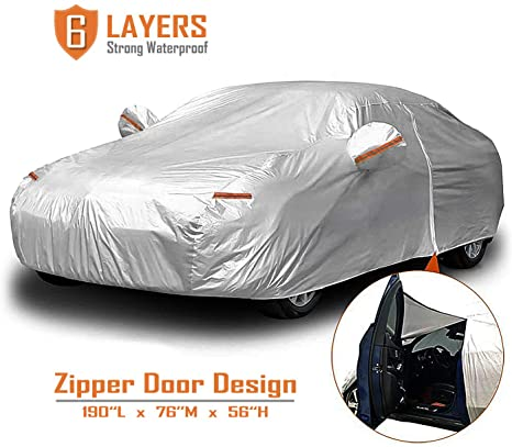 8. CARBABA Car Cover, Universal Full Car Covers with Zipper Door, 6 Layers All Weather Protection Waterproof/Windproof/Scratch Resistant
