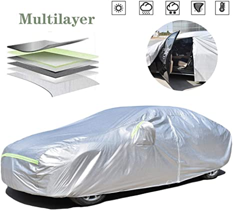 9. AOYMEI Full Car Cover Waterproof All Weather, Automobile Cover Sunproof Rainproof Windproof Scratch Resistant Reflective Strips