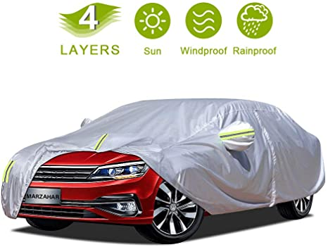 2. MARZAHAR 4 Layer Universal Sedan Car Cover Waterproof All Weather