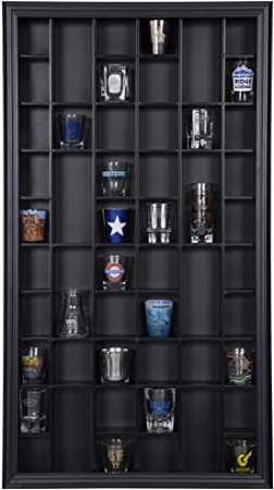 9. Gallery Solutions 17x32 Display Hinged Front, Black Shot Glass Case OD 17.8875X32.4375, 25 Inch