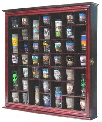 10. 41 Shot Glass Display Case Holder Cabinet Wall Rack with Glass Door (Cherry Finish)