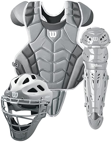 6. Wilson C1K Intermediate Catcher's Gear Kit, Silver/White