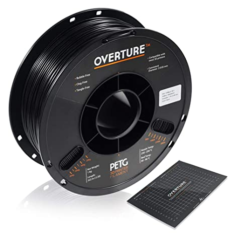 1. OVERTURE PETG Filament 1.75mm with 3D Build Surface 200 x 200 mm 3D Printer Consumables, 1kg Spool (2.2lbs)