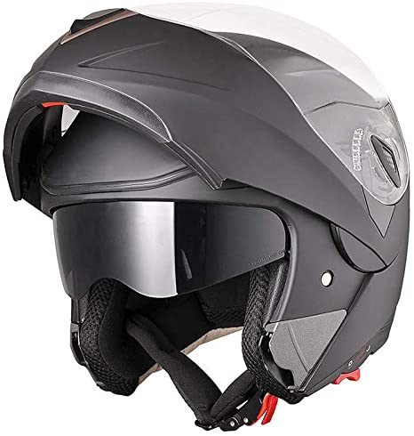 7. AHR Run-M Full Face Flip up Modular Motorcycle Helmet DOT Approved Dual Visor Motocross Matt Black L