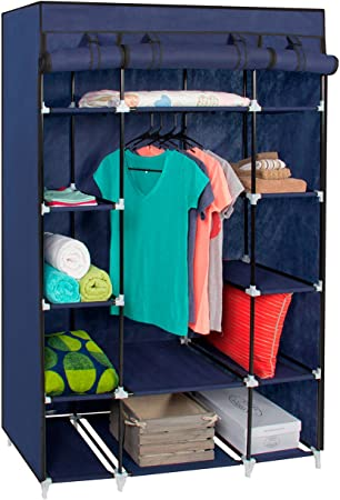 8. Best Choice Products Portable 13-Shelf Wardrobe Storage Closet Organizer w/Cover and Hanging Rod, Blue