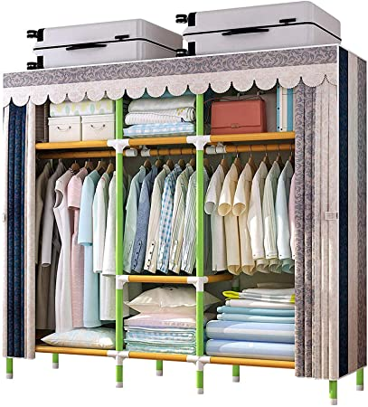 2. YOUUD 65 Inches Wardrobe Storage Closet Portable Closet Shelves, Colored Rod Closet Storage Organizer, Quick and Easy to Assemble