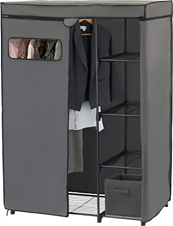 3. Simple Houseware Freestanding Cloths Garment Organizer Closet with Cover, Dark Gray