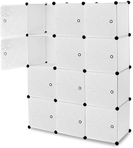 6. Work-It! Cube Storage Organizer - 12 Cubes | Stackable Portable Closet Organizer Shelves, Modular Cabinet with Doors and Hammer