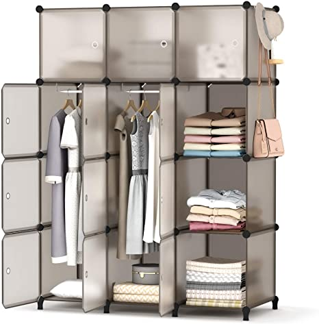 1. HOMIDEC Portable Closet Wardrobe with Clothes Hanging Rod, Closet Organizers and Storage Shelves Cabinet Armoire for Bedroom