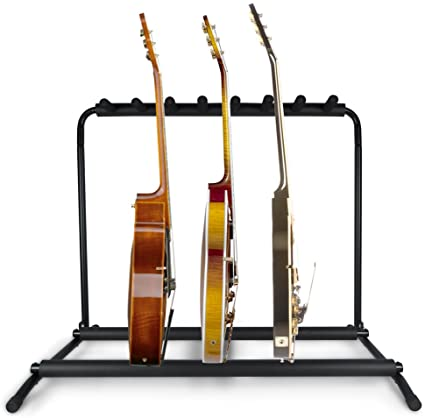 1. Pyle Multi Guitar Stand 7 Holder Foldable Universal Display Rack - Portable Black Guitar Holder with No slip Rubber Padding