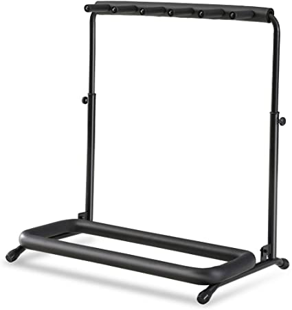 8. FITUEYES Guitar Stand 5 Holder Guitar Folding Stand Rack Band Stage Bass Acoustic Guitar Electric Guitars, Black